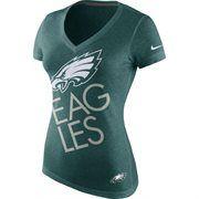 Womens Philadelphia Eagles Nike Midnight Green Upkilter Tri-Blend V-Neck T-Shirt