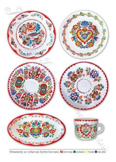 Stencil Diy, Stencils, Folklore, Polish Folk Art, House Painting, Art Lessons, Doodles, Miniatures, Pottery