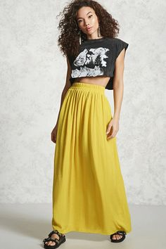 Forever 21 Contemporary - A textured woven maxi skirt featuring an elasticized waistband and shirring.