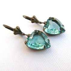 Vintage Aqua Jewel Glass Heart and Brass Earrings by TheSilverDog, $12.00
