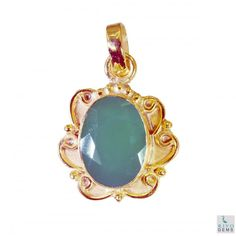 Riyo Wise Green Onyx 18kt Gold Plated Copper Green Pendant Gppgon-30054