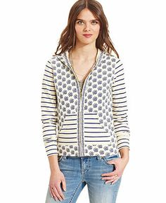 Lucky Brand Floral Striped Hoodie - Lucky Brand Jeans - Women - Macy's