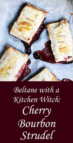 Spend this Beltane indulging your inner kitchen witch! This recipe for cherry bourbon strudel blends the luscious, warm flavor of … Wicca Recipes, Kitchen Witchery, Cherry Tart, Sweet Tooth, Sweet Treats, Food And Drink, Favorite Recipes, Snacks, Bourbon