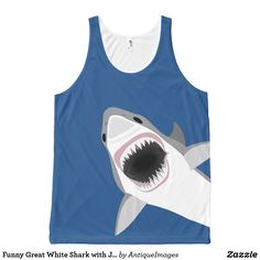 Funny Great White Shark with Jaws Agape All-Over-Print Tank Top