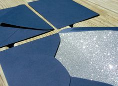 @Glitter Guide - Glitter Envelopes // Navy Silver Glitter  Many colors! Perfect match for invites!
