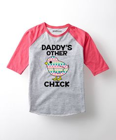 Athletic Heather & Hot Pink Chick Raglan Tee - Toddler & Girls | zulily