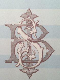 Vintage Monogram Stationery for Summer. Lovvvvve this and the stripe! Vintage Monogram, Monogram Design, Monogram Fonts, Monogram Initials, Monogram Letters, Typography Love, Vintage Typography, Typography Letters, Font Alphabet