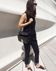 Lily Whang sporting black ATP Atelier sandal Rosa #atpatelier #inatpatelier #sandals #black #madeinitaly