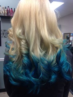 Blonde hair with blue tips. Blue ombré. Teal blue hair