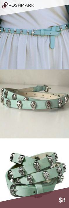💀 NWOT Mossimo Mint Skinny Studded Skull Belt 💀 🌟 Pet Friendly + Smoke Free Home.🌟 Mossimo Supply Co Accessories Belts