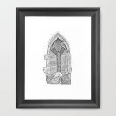 Medieval Church Window Framed Art Print by Rainer Steinke - $40.00 church window drawing pencil bleistift zeichnung fenster kirche mittelalter medieval #church #window #drawing #pencil #bleistift #zeichnung #fenster #kirche #mittelalter #medieval