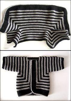 Pattern: Baby Surprise Jacket from Knitting Workshop by Elizabeth Zimmermann Yarn: Paton's Classic Wool in grey mix and Elsbeth Lavold Classic AL in black Needles: US 6 circular for the fetus! I used an i-cord cast-off that took way too long, but