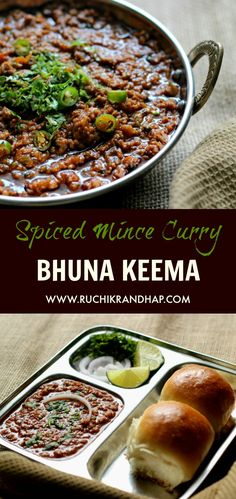 Spiced mince curry is such a rich and delicious accompaniment to pav/pao (dinner rolls), chapathis, roti, naan or pulao. Keema Pao is a popular street food in most parts of India & Pakistan. Keema Recipes, Mince Recipes, Veg Recipes, Curry Recipes, Indian Food Recipes, Chicken Recipes, Cooking Recipes, Easy Cooking, Cooking Ideas