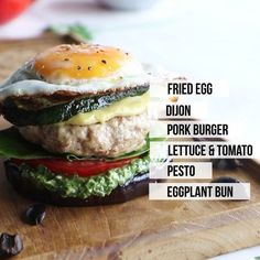 Pork Burger Meal Prep - These pork burgers are topped with grilled zucchini and sandwiched in an eggplant bun. A delicious (and Keto) compliant pesto and a fried egg put them over the top! Whole 30 Snacks, Whole 30 Recipes, Whole 30 Breakfast, Paleo Breakfast, Easy Meal Prep, Easy Meals, Dairy Free Recipes, Gluten Free, Cheeseburger Recipe