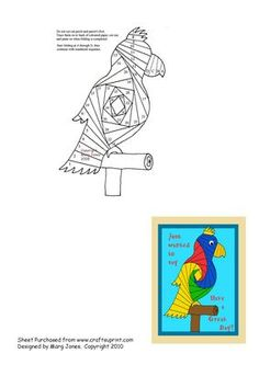 Parrot Iris Folding Pattern on Craftsuprint designed by Margaret Jones - Here's a brightly coloured parrot to say Happy Birthday or whatever greeting you like. Make him up in vivid colours for a cheery card. - Now available for download!