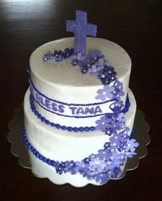 First communion cake with fondant cross & flowers.