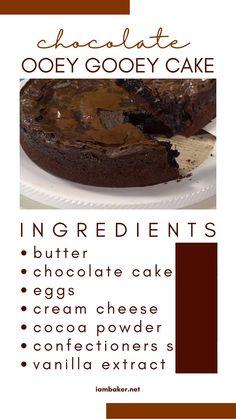 Gooey Chocolate Cake, Gooey Cake, Chocolate Desserts, Easy Desserts, Delicious Desserts, Yummy Food, Cupcake Recipes, Baking Recipes, Dessert Recipes
