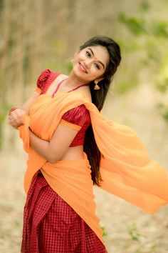 Cute Girl Dresses, Saree Photoshoot, Saree Models, Most Beautiful Indian Actress, Half Saree, Indian Beauty Saree, South Indian Actress, Saree Styles, Indian Actresses