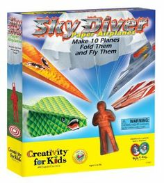 Creativity for Kids Sky Diver Paper Airplanes by Creativity For Kids. $12.05. Great for indoor or outdoor play. Discover the fun of creativity, exploration and imagination. Includes 48 sticker accents. Create 10 of the coolest paper airplanes ever with a few simple folding techniques and our heavy duty patterned papers. Punch out runways and a bonus sky diver with parachute. From the Manufacturer                Sky Diver Paper Airplane Make 10 Planes Fold Them and Fly Them. ...