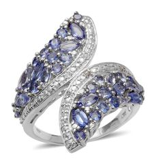 Tanzanite (Mrq), White Topaz Winged Bypass Ring in Platinum Overlay Sterling Silver Nickel Free (Size 7.0) TGW 3.150 cts.