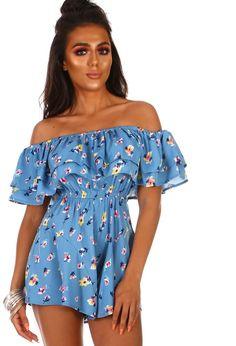 bad46333bd9f Frill Fantasy Blue Floral Bardot Frill Playsuit