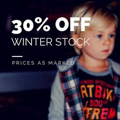 All our winter stock is now 30% off. No code required, prices are as marked.