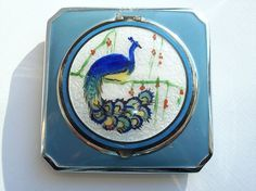 Gorgeous Antique PEACOCK Guilloche Powder Compact Vintage Makeup Rouge Purse