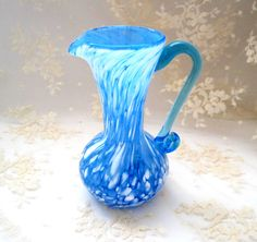 Decorative Collectibles Creative Stunning Vintage Art Hand Blown Light Blue White Murano Style Vase Speckled