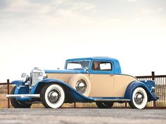 A gorgeous blue and cream 1931 Marmon Sixteen Coupe. #vintage #1930s #cars