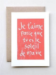 Je T'aime Soleil - Valentine's Day -  Card - Handmade - Paper goods - Love - French - Valentine