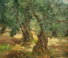 Painting Azat Galimov.Island of Marmara. Dance of the old olive trees.