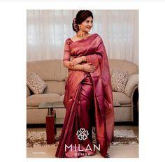 Kerala Wedding Saree, Bridal Sarees South Indian, Kerala Bride, Bridal Silk Saree, Indian Bridal Wear, Wedding Sarees, Silk Sarees, Kerala Engagement Dress, Engagement Saree