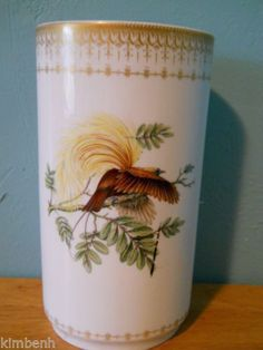 """Beautiful Rare VASE, 9 3/4"""" BIRD OF PARADISE by MOTTAHEDEH"""