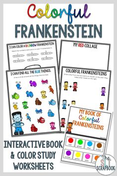 This Halloween themed pack is a fun way to support children to learn all about colors!  Great for pre-k, kinder, homeschool and sped students. This interactive book and worksheets pack is all about a colorful Frankenstein! The interactive book can be used over and over again once prepped, and the worksheets are great as activities in lessons or sent home as homework to help students learn all about colors and color matching!