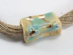 Ceramic Neckalces – Ceramic necklace. Necklace linen with ceramics – a unique product by Zielonepalce on DaWanda