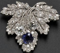 Paul Flato - Art Déco - Broche - Platine, Saphirs et Diamants - 1935