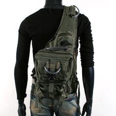 MENS VINTAGE LOOK UNBALANCED MILITARY BACKPACK HIKING BAG EB002