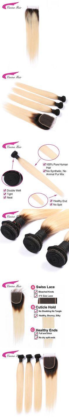 Carina hair Ombre Blonde Hair 3 Bundles With 4*4 Lace Closure 1b 613 Ombre Color Straight Hair Wefts Brazilian Remy Human Hair