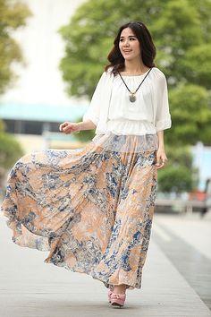 9025208444b Full Length Maxi Floral Skirt Silk Skirt Elastic Waist Plus Size Long Skirt  Beach Skirt Custom