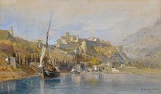 Frank Dillon (British, 1823-1909) View of the castle and harbour, Monaco