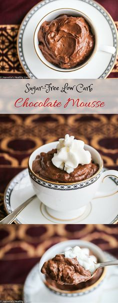 Sugar-Free Low-Carb Dairy-Free Chocolate Mousse Recipe - only 145 calories! Creamy and delicious, this is a secretly healthy dessert ~ http://jeanetteshealthyliving.com #fcpinpartners