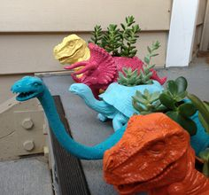 DIY Plant-a-saurs Planters By: Katie Neely These Plant-a-saurs Planters are a fun way to decorate your garden, house, or patio! What you will need: Plastic toys Succulent plants Sharp Scissors Spra...