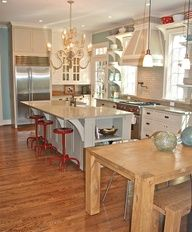 teal and red kitchen