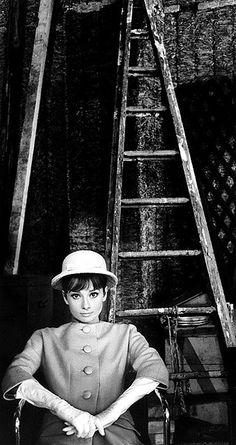 Audrey Hepburn, ladder, Paris When It Sizzles, 1962. Photo Bob Willoughby
