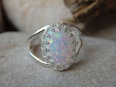 Opal Ring, Gemstone Fire Ring, White Opal Oval Ring, October Birthstone Ring, White Opal Crown Ring, 925 Sterling Silver Opal Womens Ring