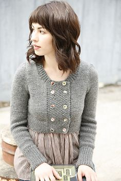 empire-waist cardi (the sweater is cute, but i love her haircut!)