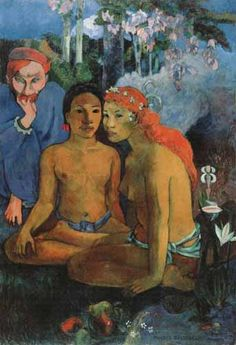 Paul Gauguin - Primitive Tales, 1902. The wife of Haapuani appears again as the red-headed woman in this painting. Gauguin puts his old associate, de Haan in the picture to intrude on the innocence of the two native girls.