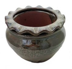 "Round Pie Rim Self Watering Ceramic Pot - Pearl Green - 6 1/4"""" x 4 1/2""""-#32495"