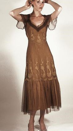 Brown Victorian Inspired Lace Dress by Nataya