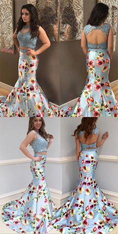 elegant two piece mermaid prom dress with print, fashion 2 piece light blue party dress with lace appliques